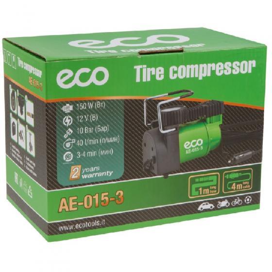 Компрессор автомобильный ECO AE-015-3 (12 В, 150 Вт, 40 л/мин, 10 бар (манометр 7 бар), сумка)